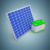 Composite image of 3d illustration of solar panel with battery. 3d illustration of solar panel with battery against grey vignette Stock Photo