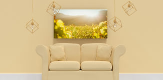 Composite image of 3d illustration of yellow sofa with cushions. 3d illustration of yellow sofa with cushions against greenness field of grapevine Stock Photo