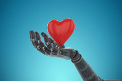 Composite image of 3d image of bionic person holding heard shape decoration. 3d image of bionic person holding heard shape decoration against blue vignette Stock Photo