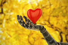 Composite image of 3d image of bionic person holding heard shape decoration Royalty Free Stock Photos