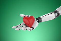Composite image of 3d image of bionic person holding heart shape decor. 3d image of bionic person holding heart shape decor against green vignette Stock Photography