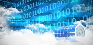 Composite image of 3d image of blue solar battery. 3d image of blue solar battery against clouds around binary codes Stock Photos