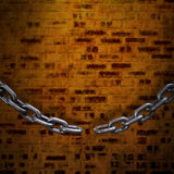 Composite image of 3d image of broken chain. 3d image of broken chain against image of a wall Stock Photos