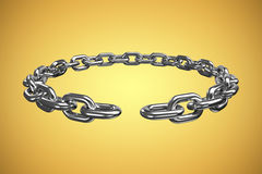 Composite image of 3d image of broken circular silver chain. 3d image of broken circular silver chain  against yellow vignette Royalty Free Stock Photos