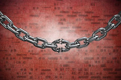 Composite image of 3d image of broken metallic chain. 3d image of broken metallic chain against red stone wall Stock Images