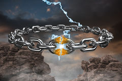 Composite image of 3d image of broken silver chain. 3d image of broken silver chain  against blue and orange sky with clouds Royalty Free Stock Images