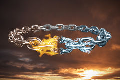Composite image of 3d image of broken silver chain. 3d image of broken silver chain  against cloudy sky landscape Stock Photography