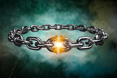 Composite image of 3d image of broken silver chain. 3d image of broken silver chain  against dark background Royalty Free Stock Image