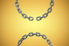 Composite image of 3d image of broken silver chain. 3d image of broken silver chain against yellow vignette Stock Photography