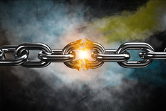 Composite image of 3d image of broken silver metal chain. 3d image of broken silver metal chain  against black background Stock Photography