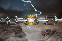 Composite image of 3d image of broken silver metal chain. 3d image of broken silver metal chain  against blue and orange sky with clouds Royalty Free Stock Image