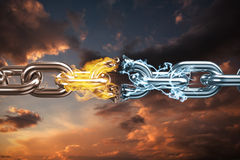 Composite image of 3d image of broken silver metal chain. 3d image of broken silver metal chain  against blue and orange sky with clouds Stock Photography