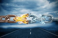 Composite image of 3d image of broken silver metal chain. 3d image of broken silver metal chain  against cloudy landscape background with street Stock Images