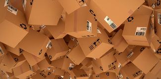 Composite image of 3d image of brown cardboard courier boxes. 3D image of brown cardboard courier boxes against workshop Royalty Free Stock Image
