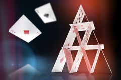 Composite image of 3d image of card castle Royalty Free Stock Image