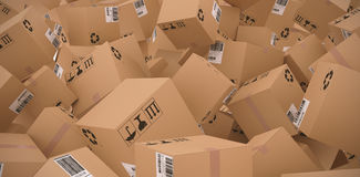 Composite image of 3d image of cardboard boxes. 3D image of cardboard boxes against workshop Royalty Free Stock Photos
