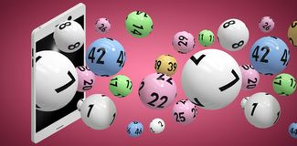 Composite image of 3d image of colorful bingo balls Royalty Free Stock Photo