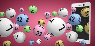 Composite image of 3d image of colorful bingo balls. 3D image of colorful bingo balls against red and white background Royalty Free Stock Images