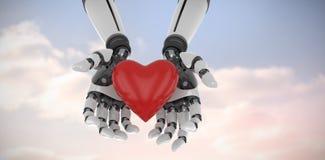 Composite image of 3d image of cyborg holding heart shape decor Stock Image