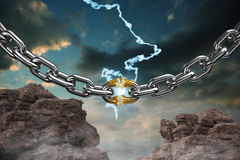Composite image of 3d image of damaged silver chain. 3d image of damaged silver chain  against blue and orange sky with clouds Stock Images