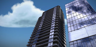 Composite image of 3d image of glass buildings Stock Images