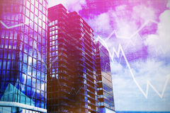 Composite image of 3d image of glass buildings. 3d image of glass buildings against stocks and shares Stock Photos