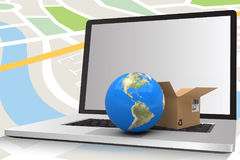 Composite image of 3d image of globe with brown courier box. 3D image of globe with brown courier box against composite image of laptop against navigation map Stock Photos