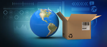 Composite image of 3d image of globe by cardboard box Royalty Free Stock Photo