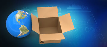 Composite image of 3d image of globe with empty cardboard box Stock Photography