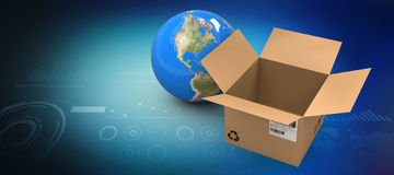 Composite image of 3d image of globe by empty cardboard box Royalty Free Stock Photos
