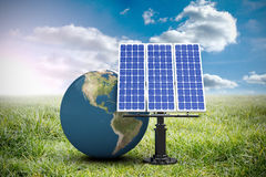 Composite image of 3d image of globe with solar panel. 3d image of globe with solar panel against sunny landscape royalty free illustration