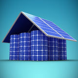 Composite image of 3d image of house made from solar panels and cells. 3d image of house made from solar panels and cells against blue vignette background Royalty Free Stock Images