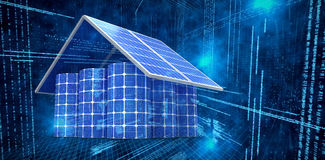 Composite image of 3d image of house made from solar panels and cells Stock Images