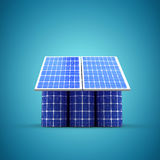 Composite image of 3d image of house model made from solar cell and panels. 3d image of house model made from solar cell and panels against blue vignette royalty free illustration