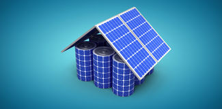 Composite image of 3d image of house model made from solar panels and cells Stock Images