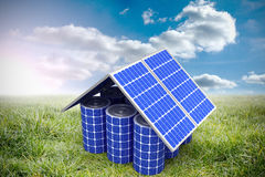 Composite image of 3d image of house model made from solar panels and cells Stock Image