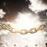 Composite image of 3d image of linked chain. 3d image of linked chain against dark sky with white clouds stock illustration