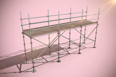 Composite image of 3d image of metal structure against white background. 3d image of metal structure against white background against pink background Stock Images