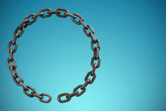 Composite image of 3d image of metallic broken chain. 3d image of metallic broken chain against blue vignette background Stock Photos
