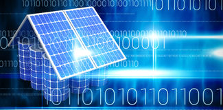 Composite image of 3d image of model house made from solar panels and cells. 3d image of model house made from solar panels and cells against blue technology stock illustration