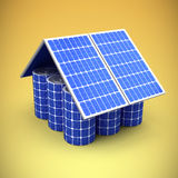 Composite image of 3d image of model house made from solar panels and cells Royalty Free Stock Image