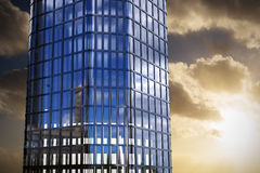 Composite image of 3d image of modern building. 3d image of modern building  against cloudy sky landscape Stock Image