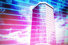 Composite image of 3d image of office buildings. 3d image of office buildings  against stocks and shares Royalty Free Stock Images