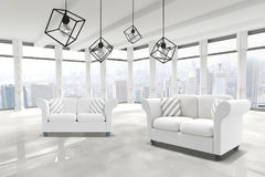Composite image of 3d image of pendant light against white background Royalty Free Stock Images
