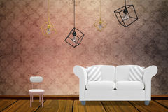 Composite image of 3d image of pendant light over white background. 3d image of pendant light over white background against room with wallpaper Stock Photos