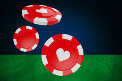 Composite image of  3d image of red casino token with hearts symbol. Vector 3D image of red casino token with hearts symbol against blue background with vignette Stock Photos