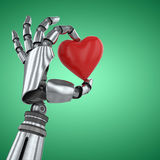 Composite image of 3d image of robot hand holding red heard shape decoration Stock Photo