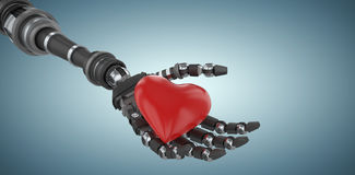 Composite image of 3d image of robot holding red heard shape decoration 3d Stock Photo