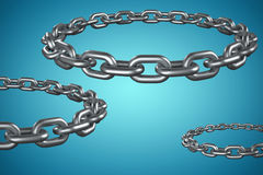 Composite image of 3d image of round metal chain. 3d image of round metal chain  against blue vignette background Royalty Free Stock Photos