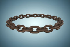 Composite image of 3d image of rusty metallic circular chain. 3d image of rusty metallic circular chain against grey vignette Stock Photos